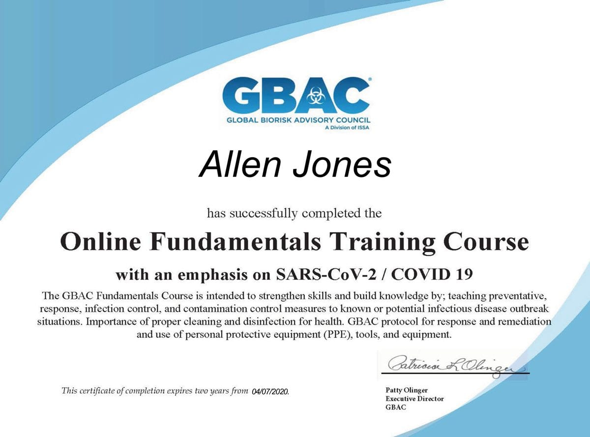 gbac disinfecting certificaiton